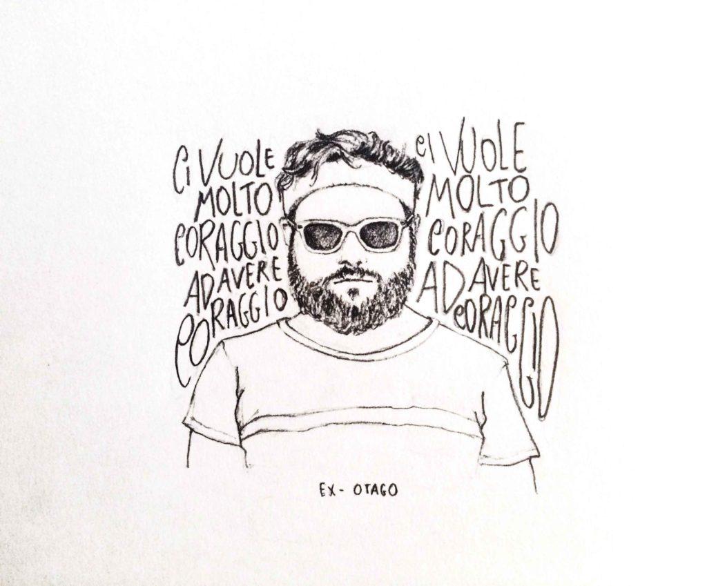 """Illustrazione di Adriana Brancato per il brano """"Ci vuole molto coraggio"""" degli Ex-Otago"""