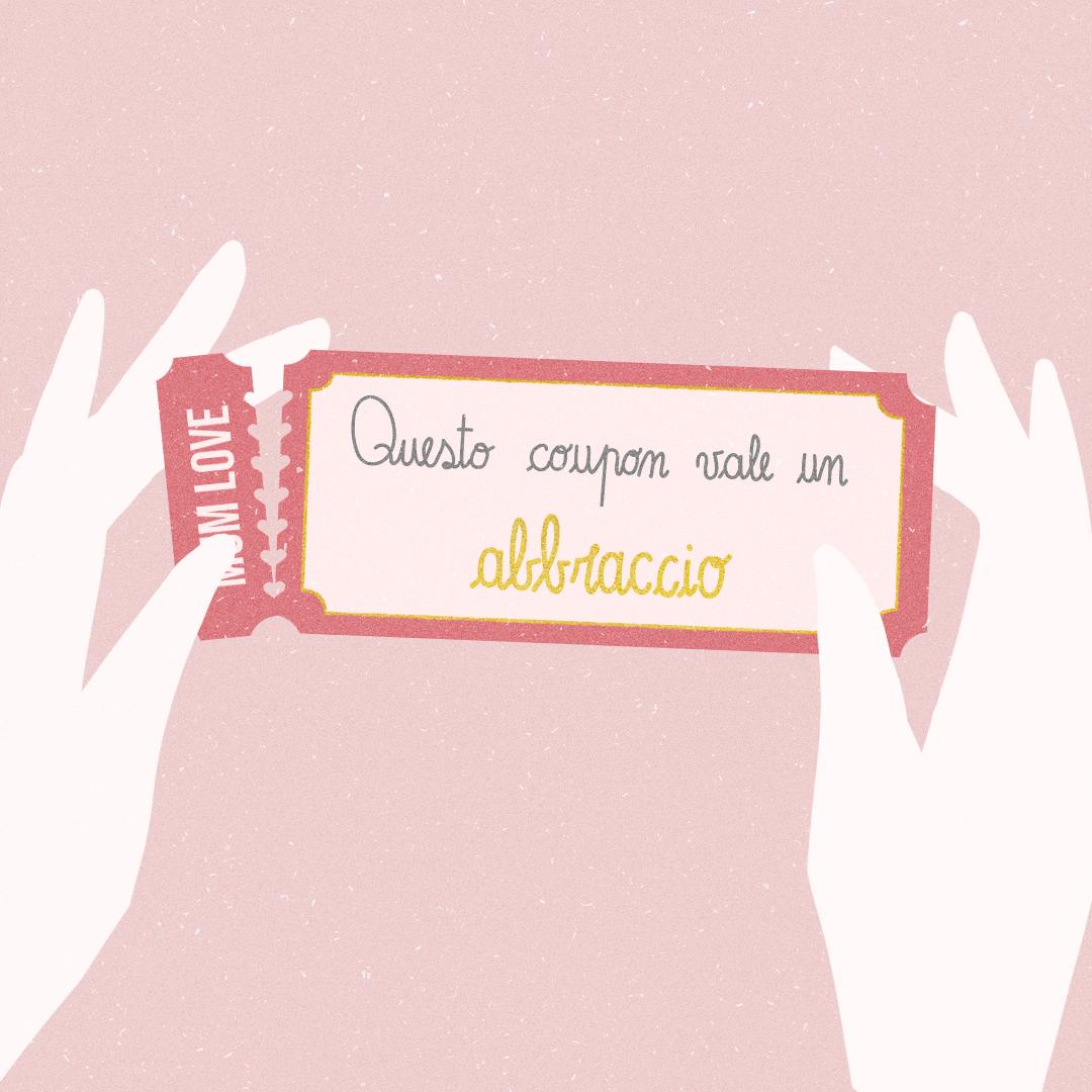 """Illustrazione realizzata per la festa della mamma. Due mani con un coupon """"abbraccio"""""""