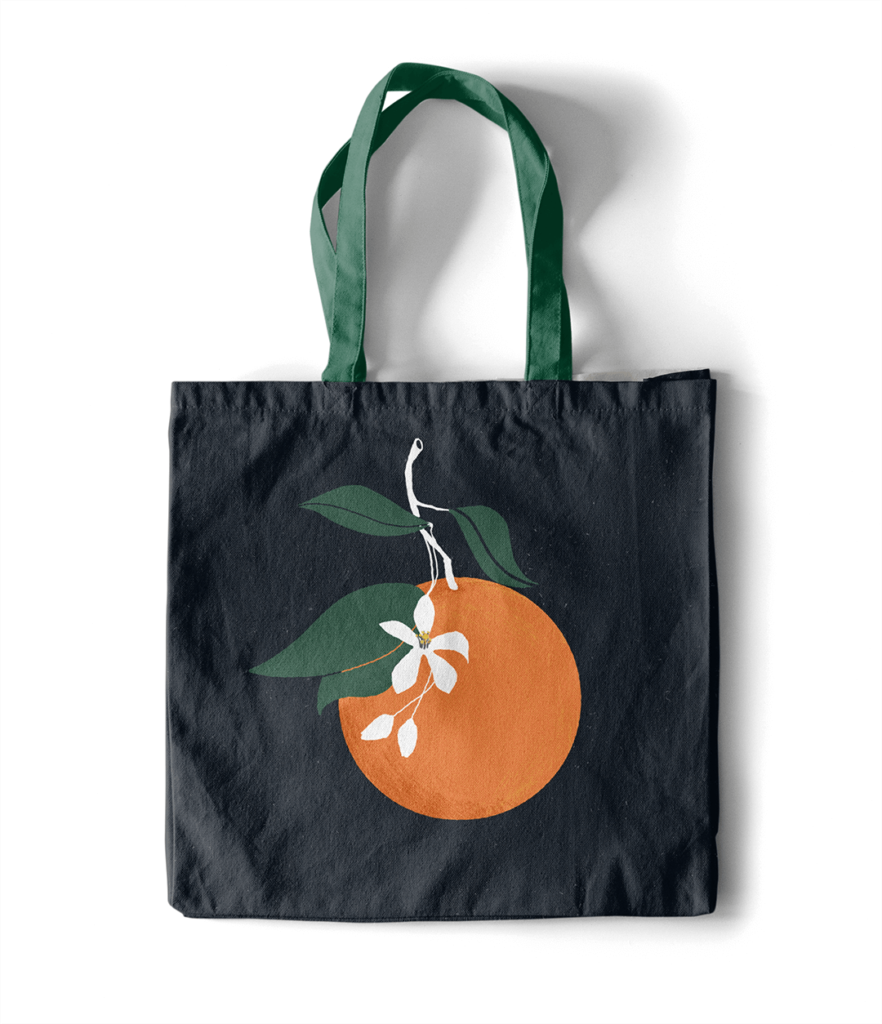 modello borsa Illustrazione di arancia e zagara siciliane