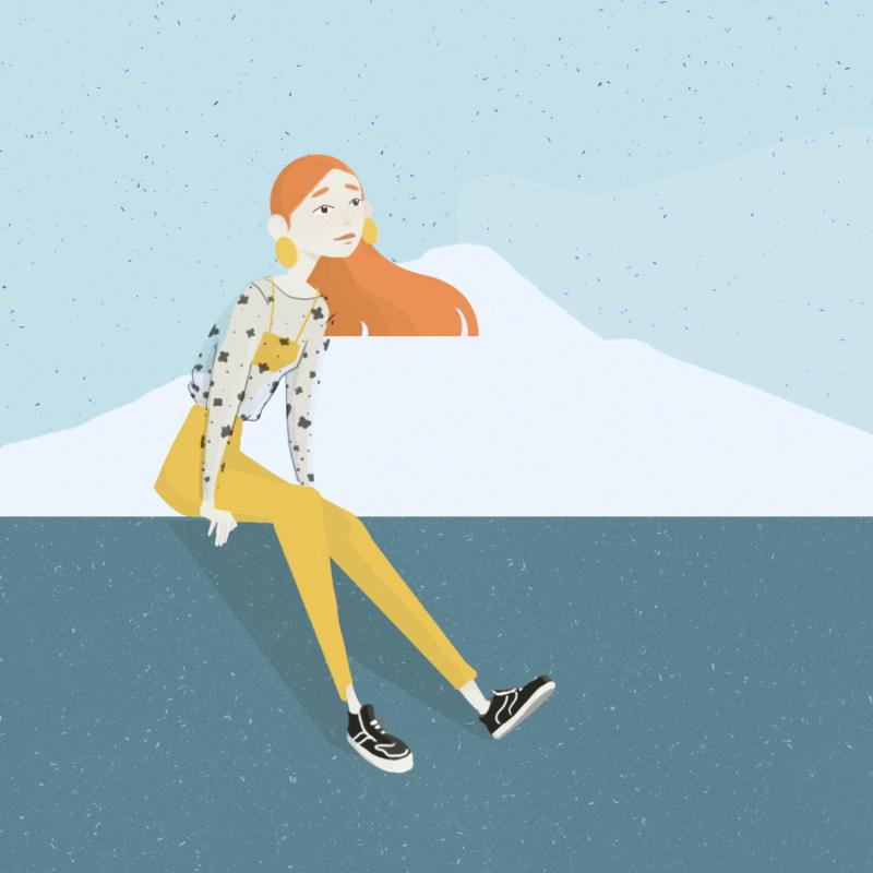 Illustrazione donna siciliana divisa tra mare e montagna