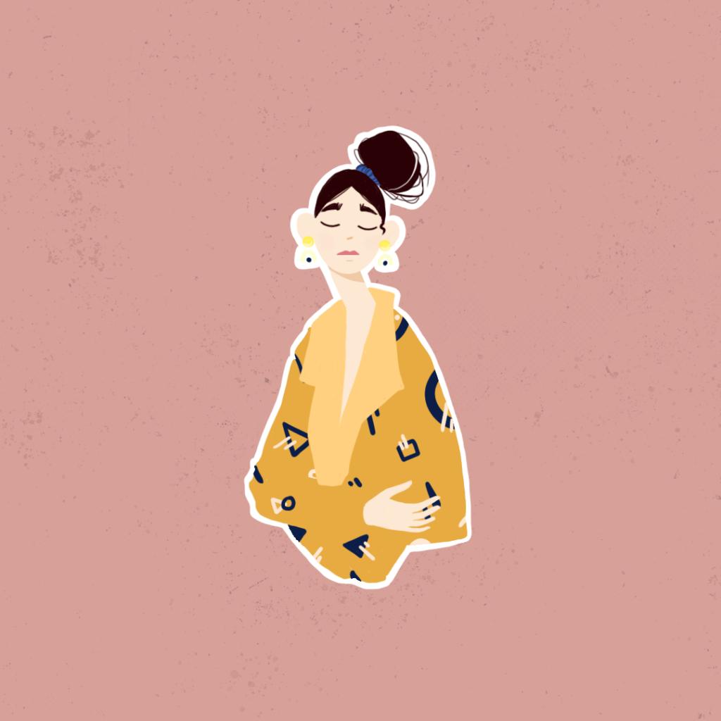 illustrazione di una donna con occhi chiusi che si abbraccia da sola